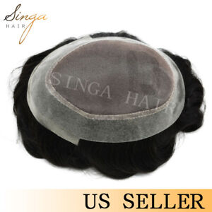 Fine Mono Poly Skin Around Mens Toupee Hairpiece Human Hair System Replacements