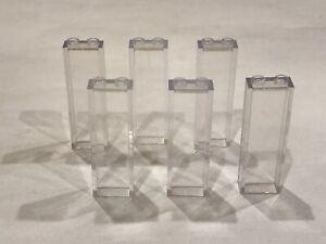 6 x Lego 1x2x5 Transparent Clear Column Pillar Bricks P/N 2454