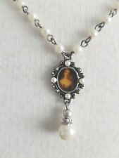 Silver tone faux pearls cameo Necklace Chain Antique Vintage Style