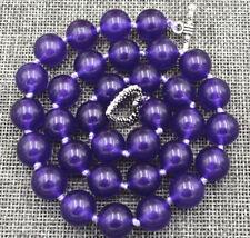 Natural 12mm Purple Amethyst Round Gemstone Beads Necklace 18'' Tibetan Silver