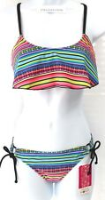 HULA HONEY Bikini Size XS Striped Flounce Top & Rope-Trim Side-Tab  NWT $56