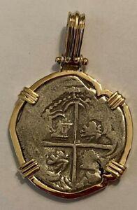 Genuine Atocha Coin 2 Reale Grade 1 Custom 14K Yellow Gold Frame COA