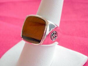 David Yurman Men's Sterling Silver Tiger's Eye Stone Signet Ring Size 9