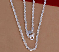 """Women's 925 Sterling Silver Rope 18"""" 20"""" 22"""" 24"""" 30"""" Chain Necklace +GiftPk D157"""