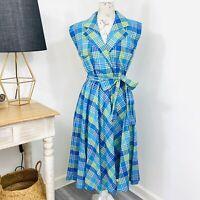 Vintage 80s Pretty Girl Shirt Dress Plaid Check A-Line Green Blue Size 10 12