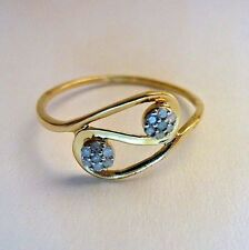DAINTY 1/20CT NATURAL DIAMONDS 10K SOLID YELLOW GOLD RING SIZE 7 STACKABLE