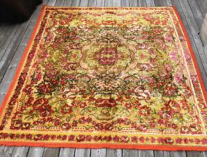 Vtg Tapestry Italian Velvet Chenille Floral Bedspread Queen Wedding Full Boho
