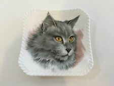 "Royal Adderly Bone China England Collectible Square Gray Cat Plate Dish, 4"" x 4"""