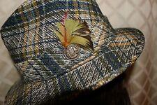 "SPORTSMAN ""[VINTAGE 1930'S ERA]  Multi-Color Plaid Men Fedora Hat"