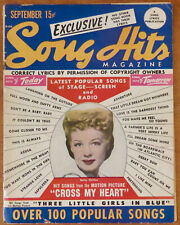 """Vintage 1946 BETTY HUTTON Cover - SONG HITS MAGAZINE - """"CROSS MY HEART"""" Movie"""