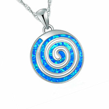 Beautiful Women Gifts Round Blue Fire Opal Silver Jewelry Necklace Pendant Chain