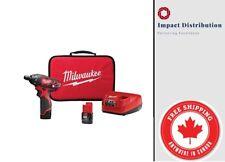 New Milwaukee 2401-22 M12 12-Volt Lithium-Ion Cordless 1/4 Hex Screwdriver Kit