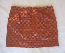 J. CREW Women's Silk Metallic Cognac Color Geometric Print Mini Skirt ~ Size 4