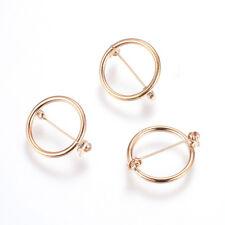 20pcs Rose Gold Brass Brooch Setting Bezel Blanks Open Back Safety Pin 18mm Tray