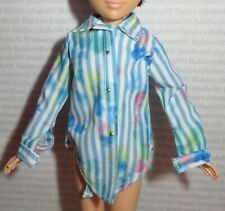 CREATABLE WORLD ~ TOP ~ BLUE STRIPED LONG SLEEVE SHIRT DOLL ACCESSORY CLOTHING