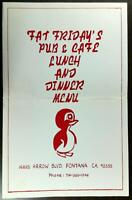 1980's Original Huge Menu FAT FRIDAY'S PUB & CAFE Fontana California