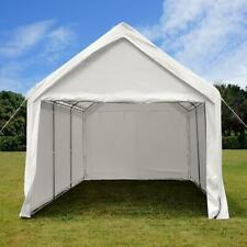Quictent 10x20 White Carport Canopy Garage Shed Shelter Storage with Sidewalls