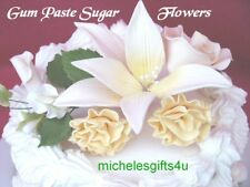 Sugar Gum Paste Lily Carnations Sweet Peas Leaves Cake Decorating Flowers