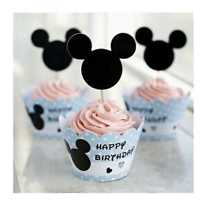 24 Pcs Mickey Cupcake Wrappers and Toppers Birthday Party