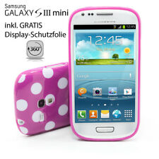 Samsung S3 Mini Galaxy i8190 Tapa Trasera Protector Carcasa Rosa Blanco Círculo