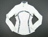 LULULEMON Brushed White White Black Glacier Lace Define Jacket Size 4 Rare