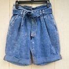 fashionnova paper bag denim high waist belted shorts