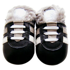Free Shipping Soft Sole Leather Baby Infant Kids Boy SportBlackFur Shoes 6-12M