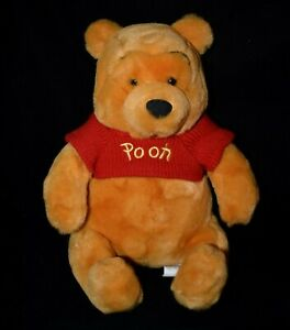 Disney Winnie the Pooh Plush Bear Red Sweater 13 1/2 inches tall