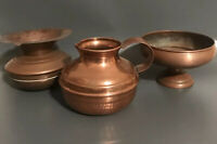 Copper Jug, Dish And Ashtray Three Pieces Vintage Decor Deco Posy Bud Vases