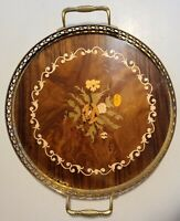 Vintage Italian Serving Tray Inlaid Wood Floral Design Wtih Brass Trim 11 3/4""