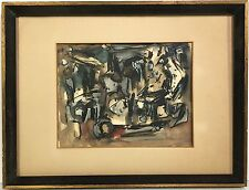 1955 Mid Century Modern ABSTRACT Watercolor Painting signed BILL