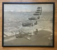 Original WWII Framed Photo Grumman TBF Avengers Above Alameda Naval Air Station