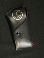 Genuine Ray-Ban sunglass case only black leather w/ red felt inside snap (A7)