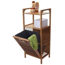 Regal mit Wäschekorb MCW-B94, Wäschebox Wäschesammler Standregal, Bambus