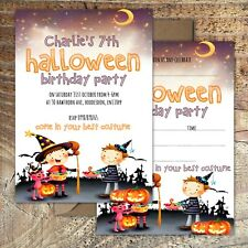 HALLOWEEN BIRTHDAY INVITATIONS Party,Trick or Treat Personalised or Blank PK 10