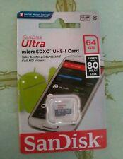 GENUINE Sandisk Ultra MicroSDXC 64GB 80MB/s SDSQUNS-64G Micro SD Memory Card