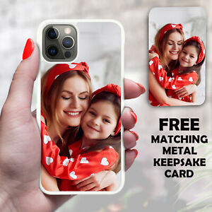 For iPhone 12 11 8 7 XR X XS MAX Personalised Photo Phone Case & Metal Card Set