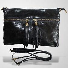 Clutch Abendtasche Schultertasche Leder Umhänge Tasche Handtasche Schwarz 2