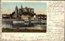 """Litho-AK Gruss aus MEISSEN 1900 Schiff Elbe Dampfer """"Bohemia"""" passiert die Burg"""