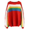 Spring Women Rainbow Color Long Sleeve Sweaters Knitwear Pullover Loose Fit New