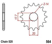 KR Ritzel 12Z Teilung 520 YAMAHA  DT 200 R 89-95 New... front sprocket