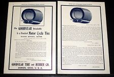 1902 OLD MAGAZINE PRINT AD, GOODYEAR, A PRACTICAL MOTOR CYCLE TIRE, STEEL RIMS!