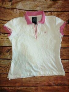 Ralph Lauren Ladies Golfing White with Pink Trim Polo Shirt Sleeveless Size XL