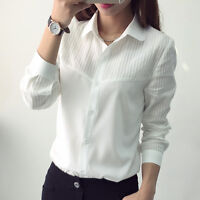 New Women's Long Slim Sleeve Casual Blouse Shirt Tops Fashion Blouse Office Lady