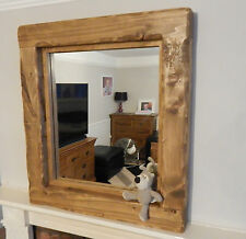 Mirror Large  reclaimed Wooden Rustic Farmhouse Mirror Light oak wall furniture