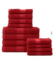 12pc Towel Set Kohl's Big Ones Tango Red 4 Bath 4 Hand Towels 4 Wash Cloths New