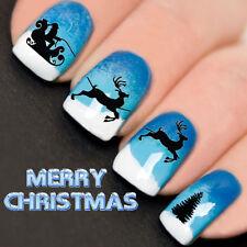 Uñas Wraps Nail Art transferencias de agua calcomanías Navidad Santa Trineo árbol yd759
