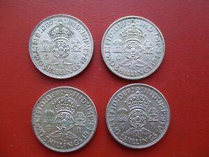 1943 1944 1945 1946 florin - 0.5 silver - George VI   (ref 600)