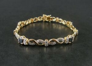 Blue Sapphire Gold Vermeil over 925 Sterling Silver Link Tennis BRACELET