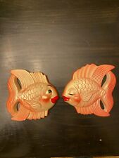 Vintage Set of 2 Cute Chalkware Orange Kissing Fish Plaque